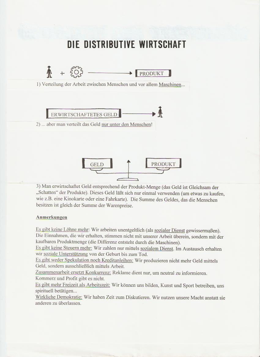 Tract sur l'Economie Distributive de Jean-Pierre Poulin en version allemande