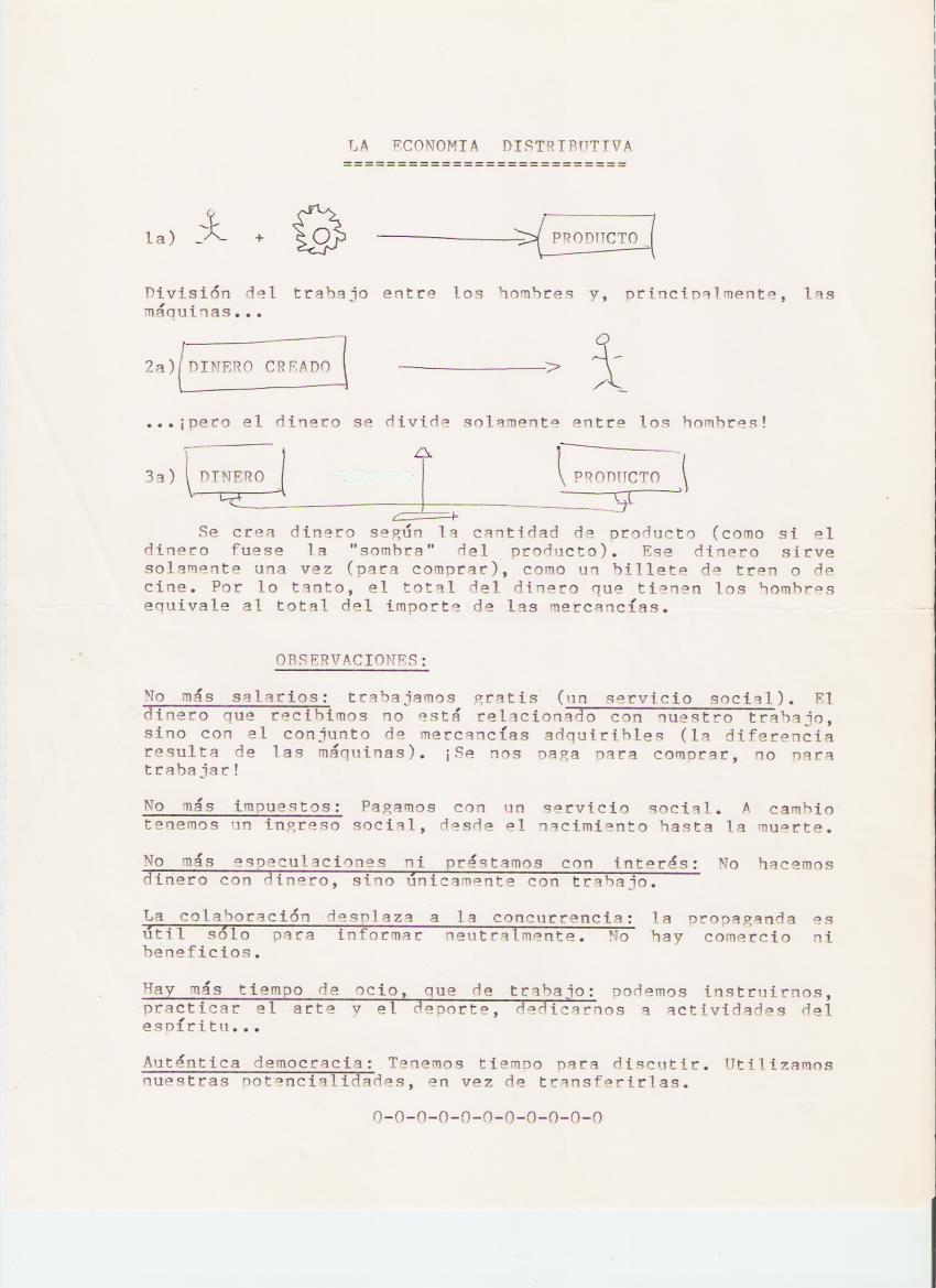 Tract sur l'Economie Distributive de Jean-Pierre Poulin en version espagnole