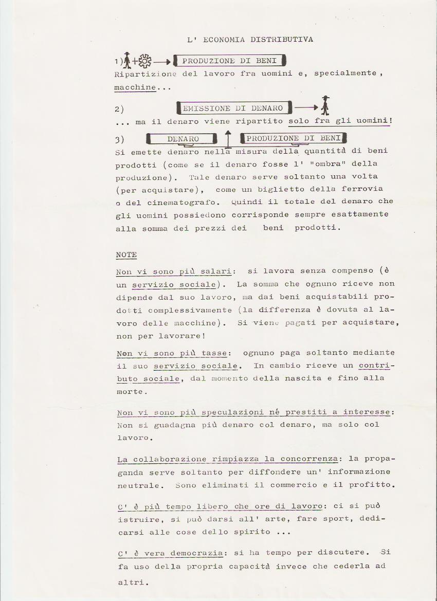 Tract sur l'Economie Distributive de Jean-Pierre Poulin en version italienne