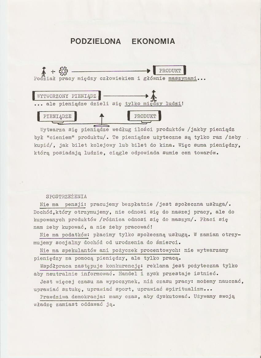 Tract sur l'Economie Distributive de Jean-Pierre Poulin en version polonaise