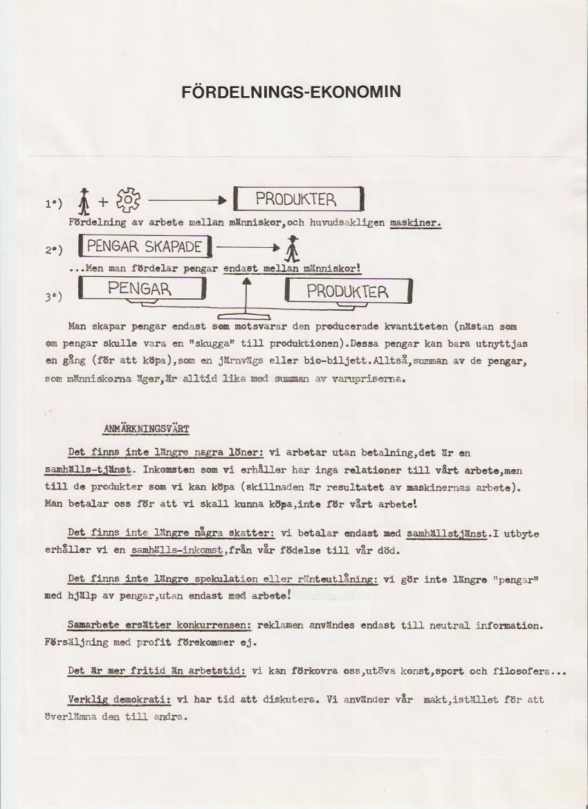 Tract sur l'Economie Distributive de Jean-Pierre Poulin en version suédoise